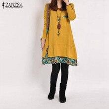 ZANZEA Women Dress 2018 Autumn Casual Vintage Vestidos Ladies Loose Floral Hem O Neck Long Sleeve Cotton Dresses Plus Size