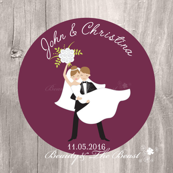 Personalized Wedding Burgundy Bride and Groom Gift Tags Wedding Favors  Sticker,Cupcake Toppers,Bottle
