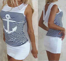 New Fashion  Boat Hook Childrens Dress Slim Bottom Stripe Anchor Sexy