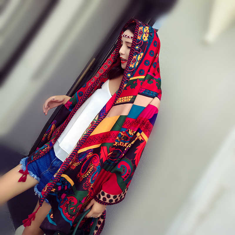 Bufanda de estilo étnico para mujer, chal estampado vintage, chal, chal de talla grande, pashmina foulard, bandana, playa, Primavera Verano, cubierta, regalo para niña