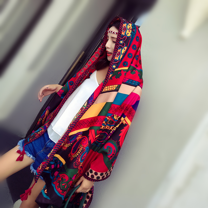 Ethnic Style Scarf Women Vintage Print Shawl Wrap Large Size Pashmina Foulard Bandana Spring Summer Beach Cover Up Gift For Girl