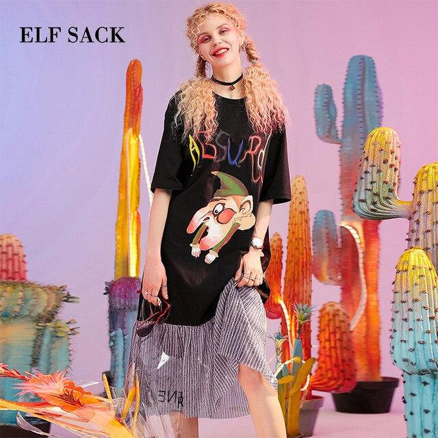 ELF SACK New Cotton Woman Dress Streetwear Letter Print O-Neck Mid-Calf Women Party Dresses Stylish Mid-Waist Femme Vestidos