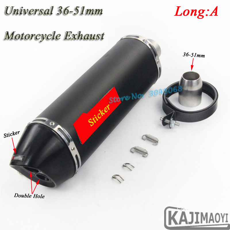 Motorcycle Exhaust Universal Laser Marking 36-51mm Scooter Moto Muffler Pipe Escape Double Hole Sticker For Ninja250 R6 CBR500 36 51mm universal motorcycle double exhaust muffler pipe for z800 gsxr750 zx10r ninja650 two holes muffler cbr1000rr cbr650