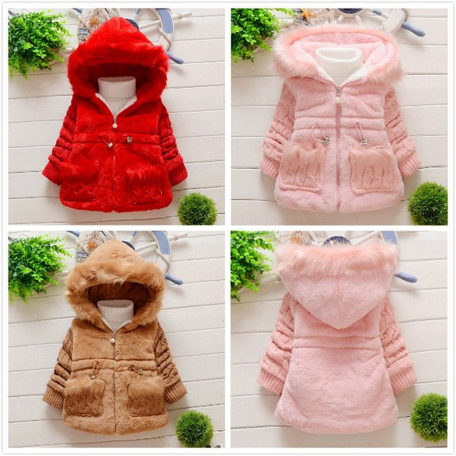 0744772ced24 Retail Girl Rabbit faux fur coat Wool sleeves Autumn Winter Clothes ...