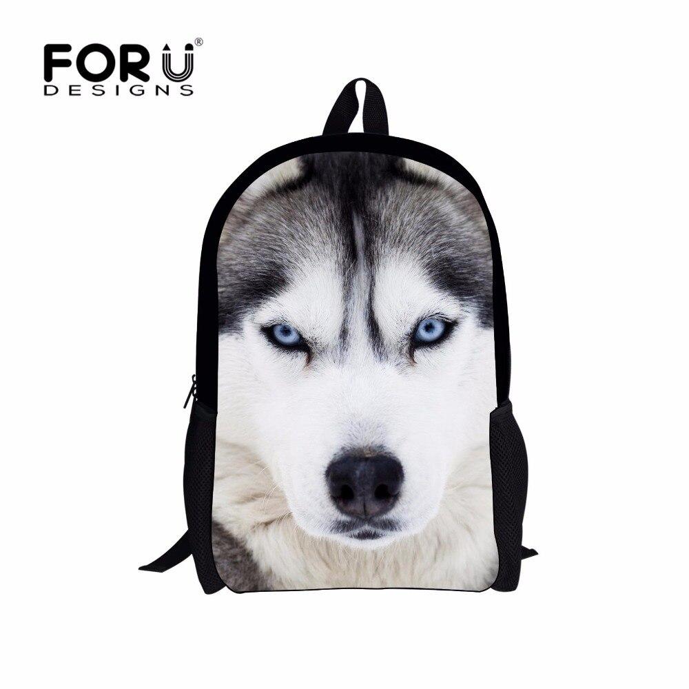 쿨 애완 동물 강아지 허스키 어린이 배낭 3D 동물 인쇄 여행 데이 백 청소년 소년 화이트 늑대 남자 학교 어깨 가방
