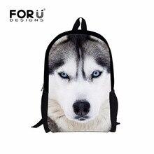Kühle Haustier Hund Husky Kinder Rucksack 3D Tierdruck Reise Daypack für Jugendliche Jungen Weiß Wolf Männer Schule Umhängetasche