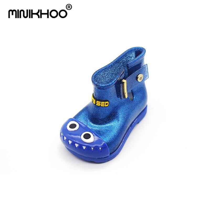 Mini Melissa Children Rain Boots Dinosaur Boots Cute Cartoon Boys and Girls Anti-skid Gaotong Shoes Waterproof Children Shoes