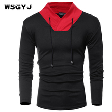WSGYJ Male 2017 Brand Long Sleeve Solid Color Thin Sweater T Shirt V-Neck Slim Men T-Shirt Tops Fashion Mens Tee Shirt