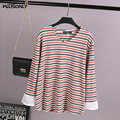 V-neck Women Tops 2017 New Plus Size 3XL Casual Loose Striped Long Sleeve T-shirt Black Red KK2465