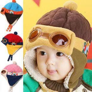 84c55cdb53d3 2017 nouveau style Chaud de vente Bébés Cool Bébé Garçon Fille Enfants  Infantile D hiver Pilote Chapeau Chaud Hat Beanie de mode mignon