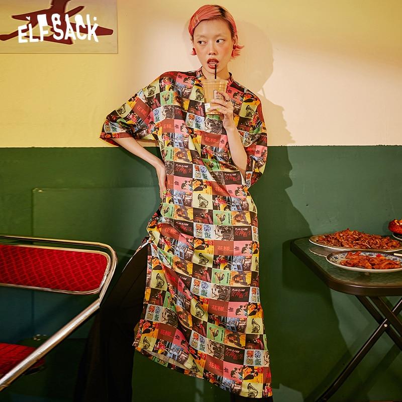 ELF SACK Vintage Print Casual Frauen Urlaub Kleid 2019 Mode Streetwear Übergroßen Weiblichen Kleider Sommer Hot Femme Strand Kleid-in Kleider aus Damenbekleidung bei  Gruppe 1