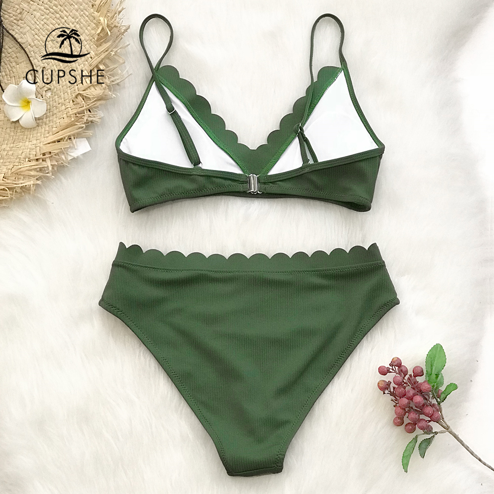 CUPSHE Cute Green Scalloped Bikini Sets 2019 Women Solid Two Pieces Beach Bathing Suits Swimwear