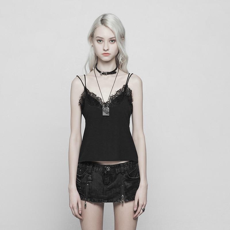 PUNK RAVE Women Casual Black Sleeveless Sexy Lace Tops Women Fashion Deep V neck Strap Tank Tops