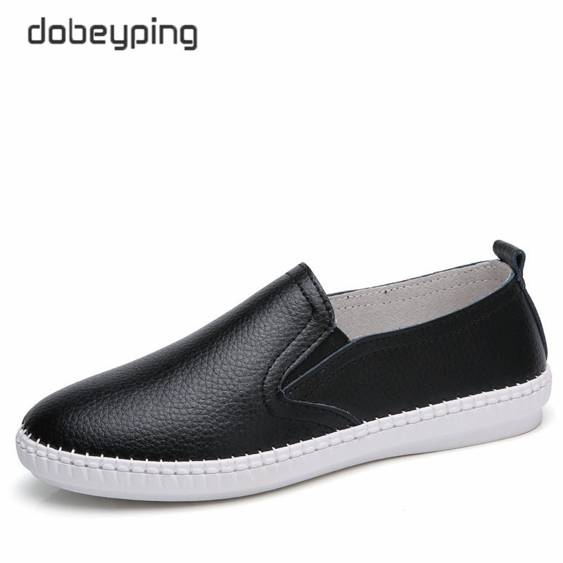 dobeyping 2018 New Spring Summer Casual Shoes Woman Genuine Leather Flats Women Shoes Slip On Women's Loafers Solid Female Shoe new women flats shoes leather round toe shoe ladies fashion leather girl shoes slip on work footwear spring summer big size