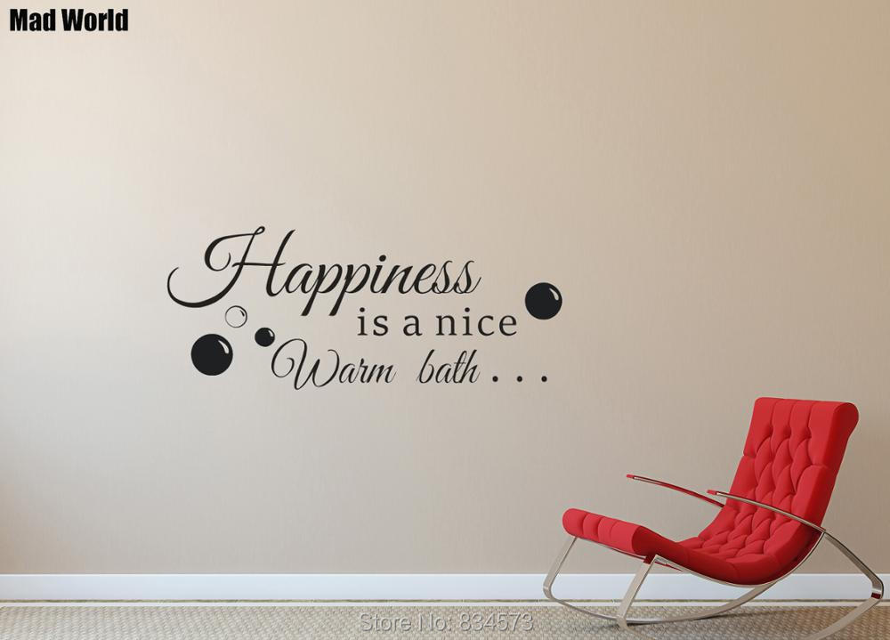 Mad World-Happiness is a nice warm bath Quote Wall Art Sticker Wall Decal Home DIY Decoration Removable Room Decor Wall Stickers
