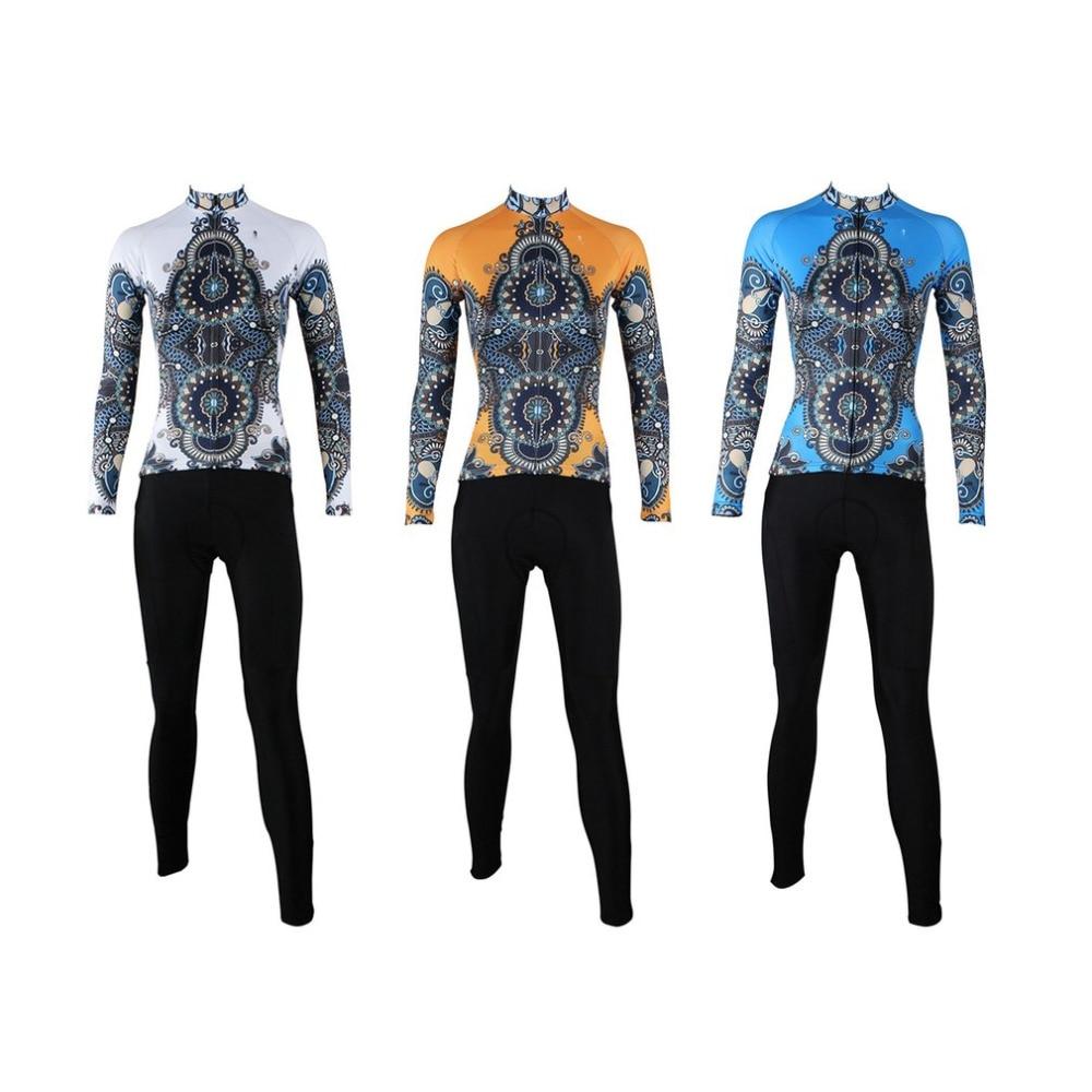 Ethnic Style Women Cycling Uniforms Long Sleeve Jersey Pants Kits Road Bike Lady Clothes Shirt Tights Set free shipping