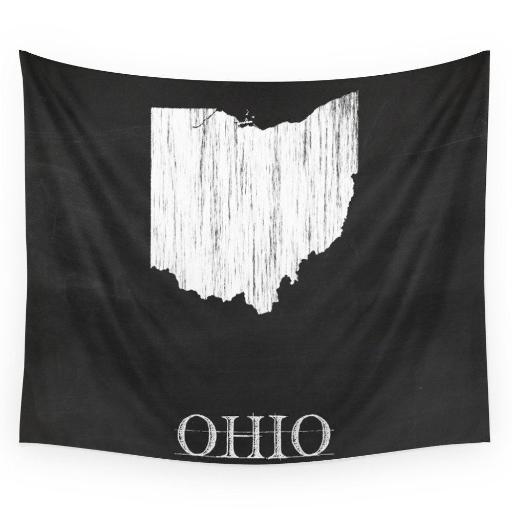 Ohio State Map Chalk Drawing Wall Tapestry Hanging Tapestry For Wall Decoration Fashion