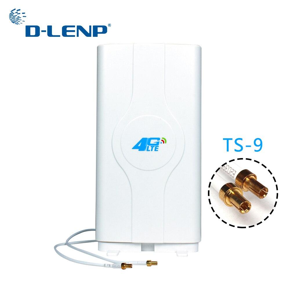 Dlenp 4G LTE antena MIMO de 700-2600 MHz con 2-TS9 hombre conector de antena de Panel con 2 metros de Cable 88dBi