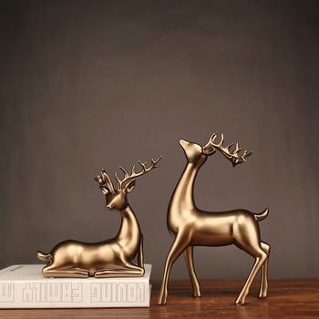 2 Uds Estatua De Venado Escultura Estilo Europeo Resina Ciervos Sala De Estar Gabinete De Vino Ornamentos Creativos Regalos Artesanales Para Boda