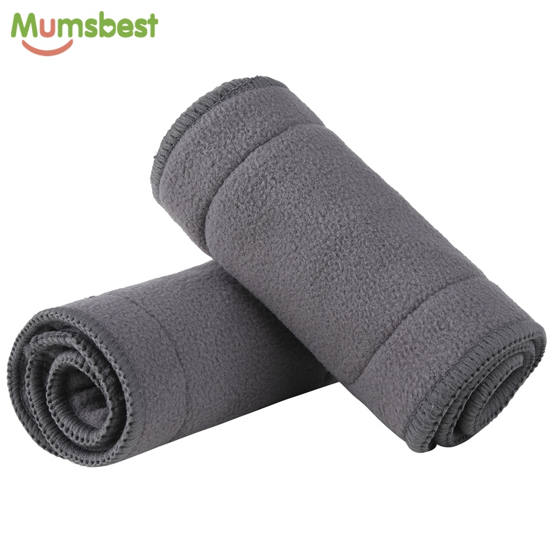 [Mumsbest] 4 Layers Bamboo Charcoal Inserts For Cloth Diaper Reusable Washable Boosters Liners For Real Pocket Cloth Nappy 1Pcs