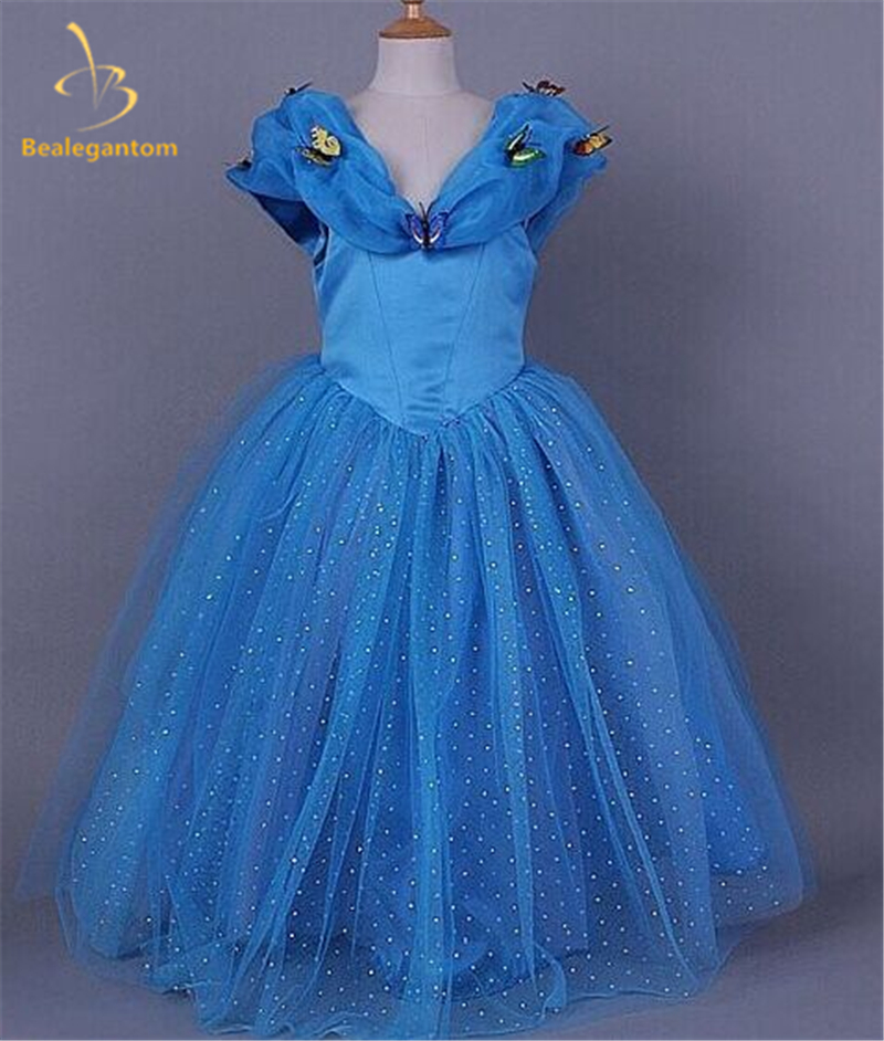 Bealegantom Fashion Blue Crystal Ball Gown   Flower     Girl     Dresses   2017 with   Flowers     Girls   Pageant Gown First Communion   Dresses   FD20