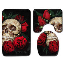 Nordic 3D Skull Rose Toilet Bath Mat Carpet Rug Sets Bathroom Shower Room Carpets Flannel Anti Slip 3 Pieces Bath Mat Sets