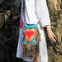 HOT Style Bohemia tie dyeing Crossbody bags handmade long tassels women bags