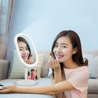Makeup Mirror With LED Touch Screen Portable Desktop Dressing Mirror Vanity Lights USB Charging Smart Table Lamps Makeup Mirror