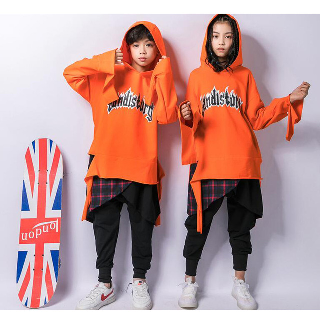 2b370de9e Boys Loose Ballroom Jazz Hip Hop Dancing Costumes Hoodie Kids Girls ...