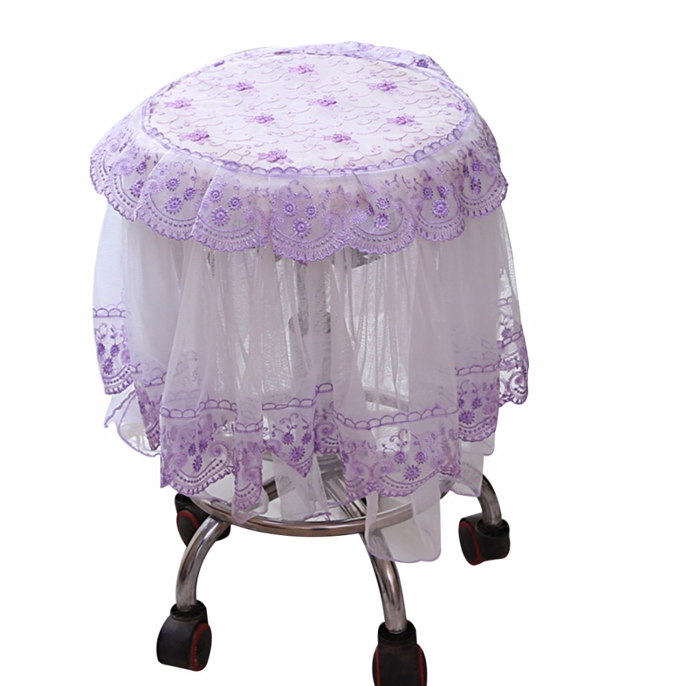 holiday decorative chair covers serta executive embroidered stool cover lace floral slipcover round seat protector