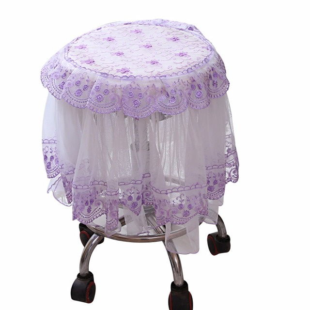 Embroidered Chair Covers Stool Cover Decorative Lace Floral Slipcover Round  Stool Seat Covers Chair Seat Protector