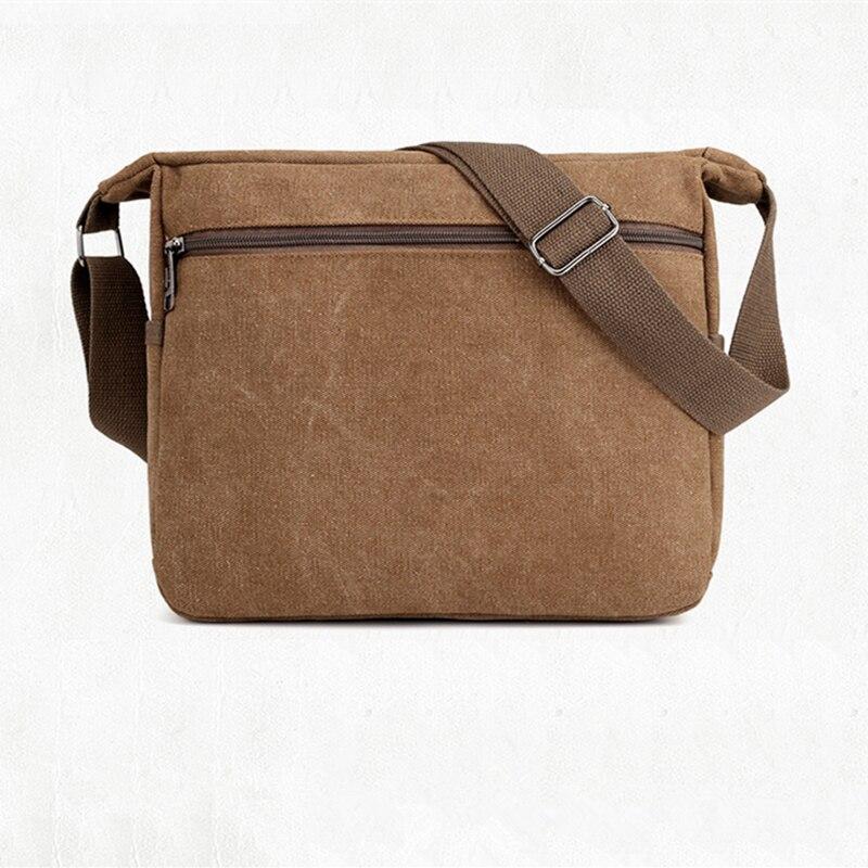 Canvas Shoulder Bag Preppy Style 100 Cotton Solid Messenger Bag Contracted Joker More Zippers Crossbody Bag School Bag for Boy