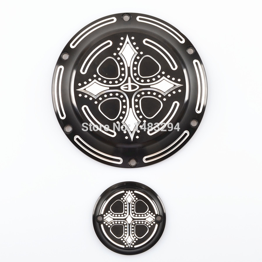 Black Bless Cross Derby Timing Timer Cover Fits fits for Harley Sportster 883 1200 XL mtsooning timing cover and 1 derby cover for harley davidson xlh 883 sportster 1986 2004 xl 883 sportster custom 1998 2008 883l