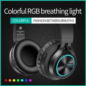 Image 2 - B6 Draadloze Hoofdtelefoon Bluetooth Hoofdtelefoon 12 Uur Werktijd Oortelefoon Kleurrijke Licht Ondersteuning Tf kaart Voor Mobiele Telefoon PC TV