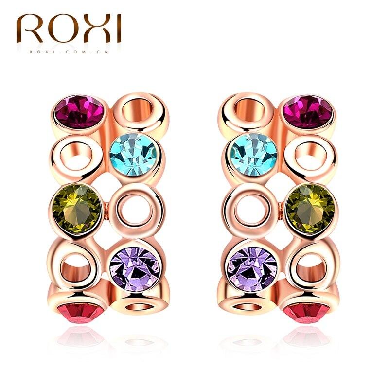 ROXI Stud Earrings Rose Gold Color Women Earrings Colorful Zircon Geometric Earrings brincos for Ladies Girls Fashion Jewelry