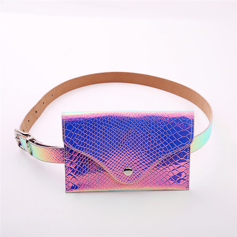 Holographic Waist Bag Women Laser Fanny Pack Purse PU Leather Hip Belt Pouch Stuffed Plush Plants Holographic Buttons Waist Bag