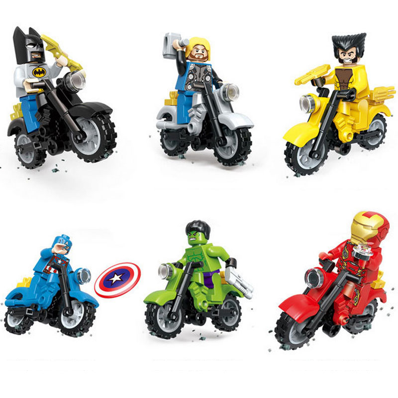 6pcs/lot Legoings Marveled Avengersing Super Heroes Starwarsing Ninjagoes Turtlees Motorcycle Building Blocks With Weapon Toys6pcs/lot Legoings Marveled Avengersing Super Heroes Starwarsing Ninjagoes Turtlees Motorcycle Building Blocks With Weapon Toys