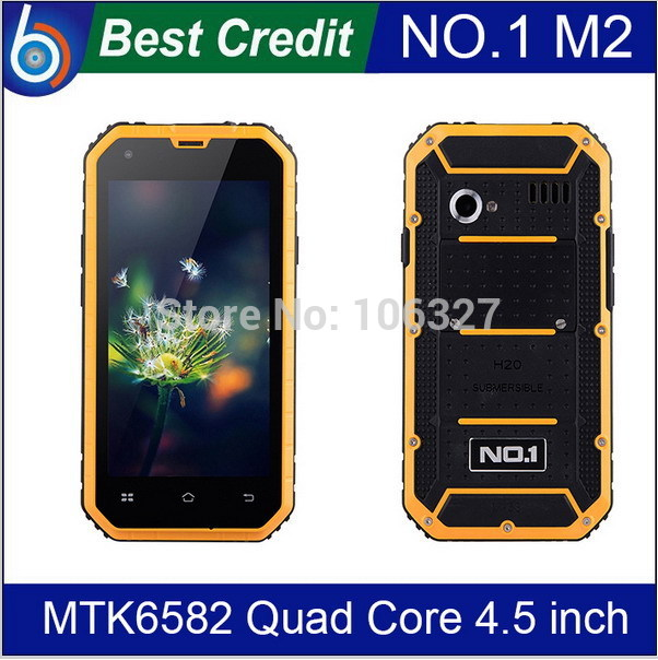 """In stock New Original NO.1 M2 Rugged Waterproof IP68 Phone 4.5"""" Android 4.4 MTK6582 Quad Core 1GB RAM 13MP WCDMA Mobile phone/Ev"""