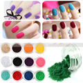 12 x Mix Color Nail Art Velvet Flocking liquid Glitter Powder Polish UV GEL Tips Free Shipping