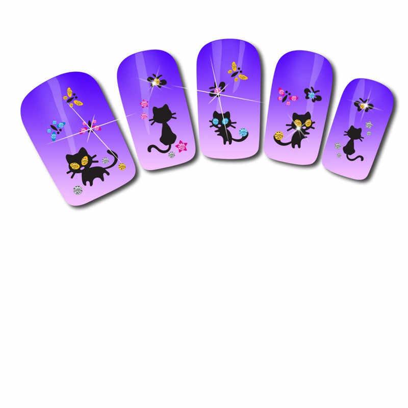 Nail Art naklejki do paznokci dekoracji diament kot motyl projekt dekoracje Levet DIY wskazówka wzory 3D naklejki do paznokci