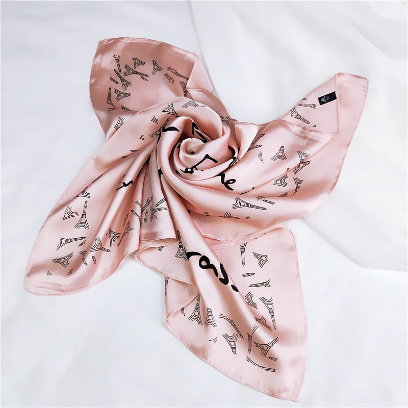 Silk Scarf Spring Letter Squares Women Shawl Small Autumn High-Quality Fashion English