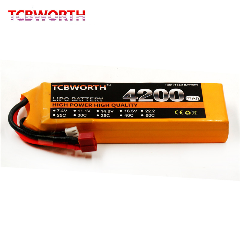 TCBWORTH RC LiPo Battery 11.1V 4200mAh 40C 3S FOR RC Airplane Drone Li-ion Batteria Cell AKKU mos 2s rc lipo battery 7 4v 2600mah 40c max 80c for rc airplane drone car batteria lithium akku free shipping