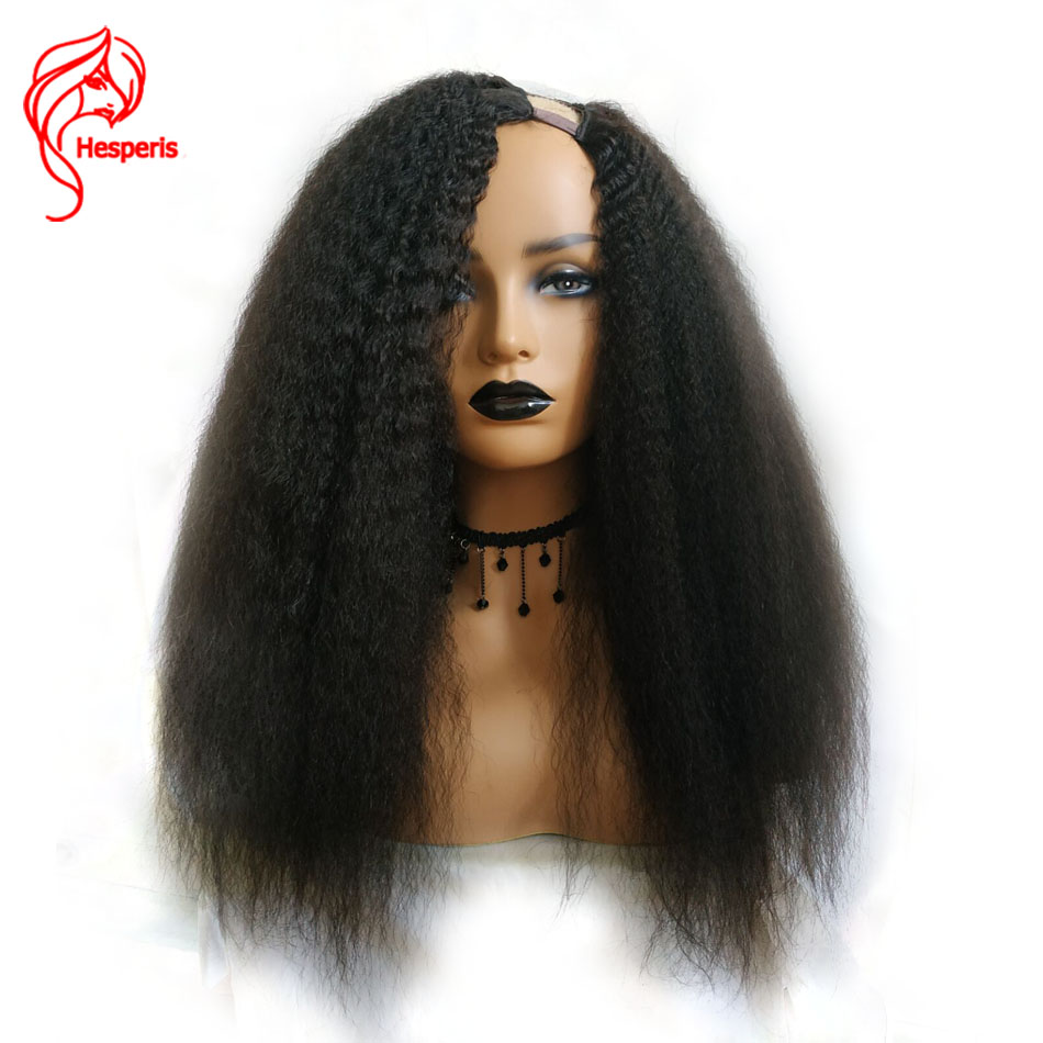 Hesperis Kinky Straight U Part Human Hair Wig Brazilian Remy Hair 130 Density Italian Yaki Medium Cap Left Part U part Wigs