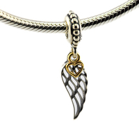 Fits for Pandora Charms Bracelets Angel Wing Beads with 14K Real Gold Heart 100% 925 Sterling Silver Jewelry Free Shipping