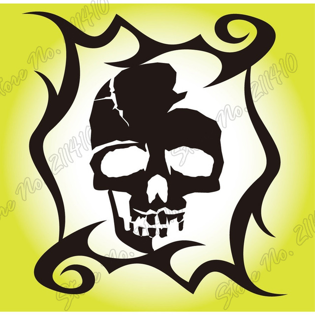Outdoor sticker cool motorbikes car filler mouth halloween skull skeleton death page waterproof removable vinyl art