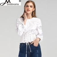 Avodovama M New Spring Fashion Bow Lace Up Bandage Long Sleeve O Neck Slim Tops Casual