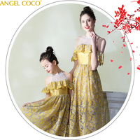 Mother Daughter Dresses for Banquet Party Evening Formal Wear Family Matching Clothing Princess Mom and Daughter Outfits Sister