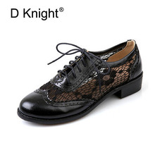 цены New Fashion Round Toe Lace Oxford Shoes For Women Vintage Carved Lace Up Flat Women Oxfords Plus Size 34-43 Brogue Oxford