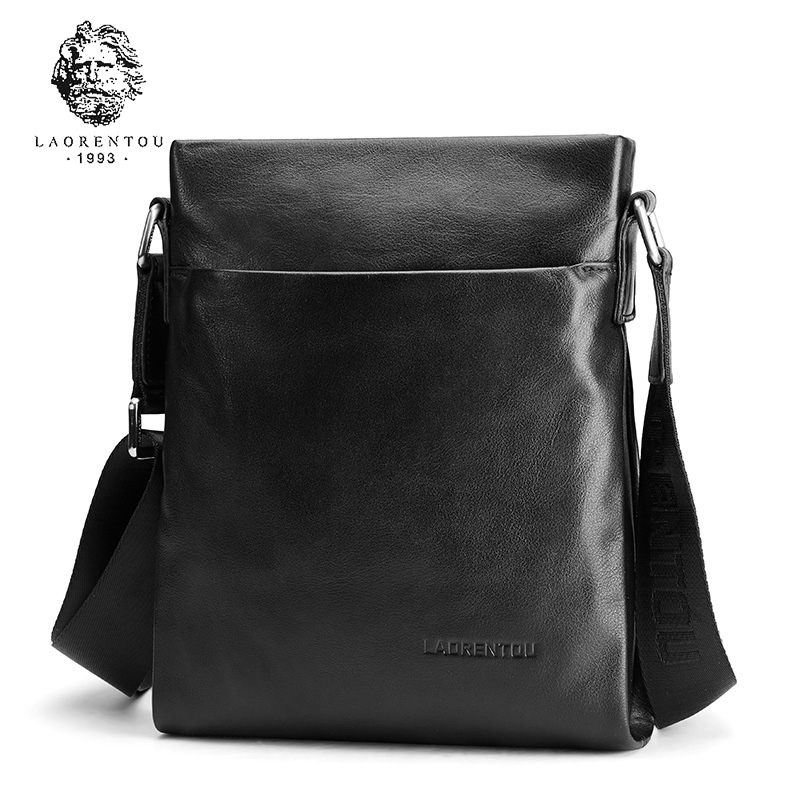 Laorentou Famous Brand Leather Men Bag Casual Business Cow Leather Mens Messenger Bag Vintage Men's Crossbody Bag Bolsas Male new casual business leather mens messenger bag hot sell famous brand design leather men bag vintage fashion mens cross body bag