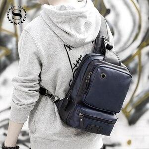 Image 4 - Мужские кожаные рюкзаки Scione, модные уличные деловые повседневные водонепроницаемые сумки через плечо с разъемом для наушников